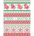 Merry christmas pattern with mittens vector image vector image