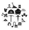 miner icons set simple style vector image vector image