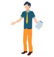novice at work coping task man helper secretary vector image