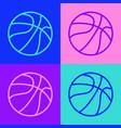 pop art line basketball ball icon isolated