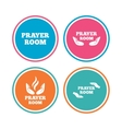 Prayer room icons Religion priest symbols vector image vector image