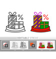 present gift box in santa bag xmas sale line icon vector image vector image
