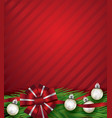 red christmas holiday bow and silver ornaments vector image vector image