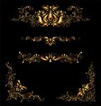 Retro Gold Floral Elements and Embellishments Set vector image