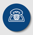 retro telephone sign white contour icon vector image vector image