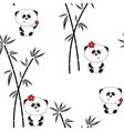Seamless pattern funny panda vector image vector image