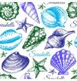 Seashell seamless pattern Hand drawn sketch vector image