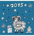 set new year symbol 2015 sheep spruce snowflakes vector image