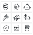 Set of Disinfection Icons Man fly apron vector image