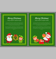 set of merry christmas and happy new year banners vector image vector image