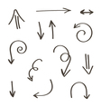 Set of monochrome hand-drawn arrows vector image vector image