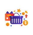 shopping basket and credit card online store vector image vector image