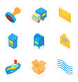 snail mail icons set isometric style vector image vector image