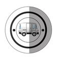 sticker with circular shape with colorful mini van vector image