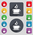tea coffee icon sign A set of 12 colored buttons vector image vector image