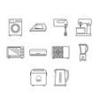 thin line home appliance icon set vector image vector image