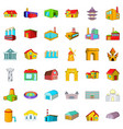 town building icons set cartoon style vector image vector image