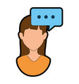 Woman profile with speech bubble vector image