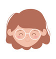 young girl face character isolated icon on white vector image vector image