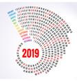 2019 calendar print template spiral calendar set vector image