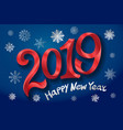 2019 happy new year tape red number on blue vector image
