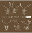 A set of polygonal heads of deer vector image vector image