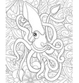 adult coloring bookpage a cute octopus on the vector image