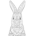 adult coloring bookpage a cute rabbit image for vector image vector image