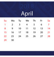 april 2018 calendar popular blue premium for vector image
