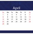 april 2018 calendar popular blue premium vector image vector image