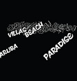 aruba paradise beach villas text background word vector image vector image