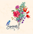 bird and flowers vintage summer vector image