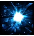Blue techno style explosion Shatter Glass vector image vector image