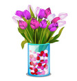 bouquet spring flowers tulips in a vector image