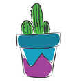 cactus inside a blue and purple vase on a whte vector image vector image