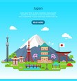 cartoon japan travel infographic card poster ad vector image vector image