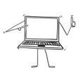 cartoon of laptop or notebook computer character vector image vector image