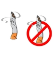 Cartoon unhappy cigarette with stop sign vector image vector image