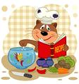 cat chef prepare soup vector image vector image