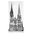 chartres cathedral gothic catholic cathedral vector image vector image