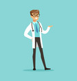 cheerful male doctor character standing vector image