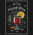 christmas mulled wine in a glass hot drinks vector image