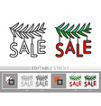 christmas tree branch garland sale line icon vector image vector image