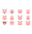 collection of funny pig emoticon characters vector image