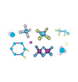 collection various molecules with atoms vector image
