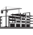 crane installing curtain wall of building vector image vector image