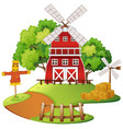 farm scene with windmill and scarecrow vector image vector image
