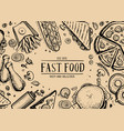 fast food retro advertising background vector image vector image