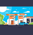 flat gas station with shop modern urban car vector image