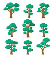 forest trees set natural plants eco foliage vector image vector image